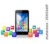 touchscreen smartphone with... | Shutterstock . vector #253531609