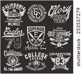 varsity college vector label... | Shutterstock .eps vector #253537279
