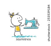 seamstress at the sewing... | Shutterstock .eps vector #253539184
