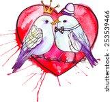 watercolor birds | Shutterstock .eps vector #253539466