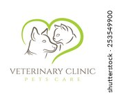 Stock vector illustration icon veterinary clinic with cat and dog 253549900