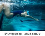 female swimmer at the swimming... | Shutterstock . vector #253555879