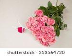 elegant bouquet of pink roses... | Shutterstock . vector #253564720