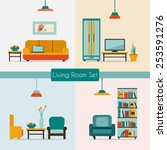 living room set with furniture... | Shutterstock .eps vector #253591276