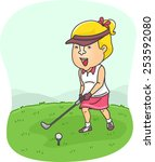 illustration of a female golfer ... | Shutterstock .eps vector #253592080