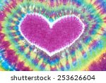 heart sign tie dyed pattern on... | Shutterstock . vector #253626604