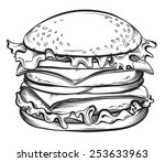 hand drawn cheeseburger or... | Shutterstock .eps vector #253633963
