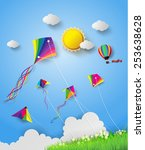 colorful kite flying on the sky.... | Shutterstock .eps vector #253638628