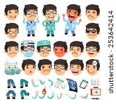 set of cartoon doctor character ... | Shutterstock .eps vector #253642414