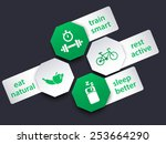 fitness tags with icons  vector ...