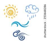 icon sun  rain  cloud  wind ... | Shutterstock .eps vector #253668286