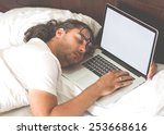 freelancer man with laptop in... | Shutterstock . vector #253668616