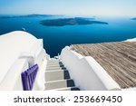 luxury hotel with sea view.... | Shutterstock . vector #253669450