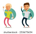 funny cartoon people dancing to ... | Shutterstock .eps vector #253675654