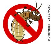 anti pest sign with a funny... | Shutterstock .eps vector #253679260