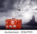 suitcase and a airplane | Shutterstock . vector #25367995