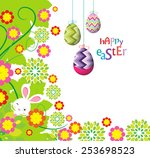 easter eggs and bunny... | Shutterstock .eps vector #253698523