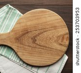 old cutting board and dishcloth ... | Shutterstock . vector #253703953