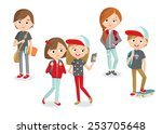 teenage girls and boys | Shutterstock .eps vector #253705648