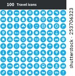 100 travel icons | Shutterstock .eps vector #253706323