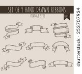 big set of blank cute ribbon... | Shutterstock .eps vector #253707934