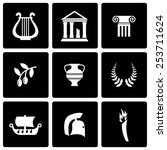 vector black greece icon set on ... | Shutterstock .eps vector #253711624