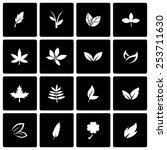 vector black leaf icon set on...   Shutterstock .eps vector #253711630