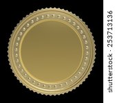 gold coin isolated on black... | Shutterstock . vector #253713136