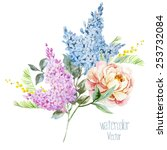 watercolor  vector  peonies ... | Shutterstock .eps vector #253732084