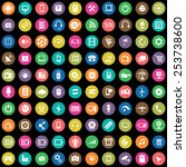 100 technology icons  universal ... | Shutterstock .eps vector #253738600