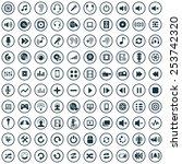 100 dj icons  universal set  | Shutterstock .eps vector #253742320