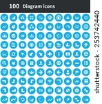 100 diagram icons  blue circle... | Shutterstock .eps vector #253742440