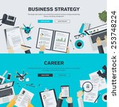 Set of flat design illustration concepts for business, finance, consulting, management, human resources, career, employment agency, staff training. Concepts for web banner and printed materials. | Shutterstock vector #253748224