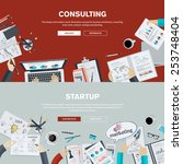 set of flat design illustration ... | Shutterstock .eps vector #253748404