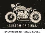 vintage custom motorcycle | Shutterstock .eps vector #253756468