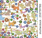 pattern of dog  cat  mouse ...   Shutterstock .eps vector #253759783