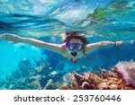 Young Women At Snorkeling In...