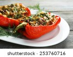 stuffed red peppers with greens ... | Shutterstock . vector #253760716