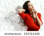 gorgeous fashion model in... | Shutterstock . vector #253761430