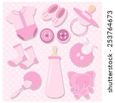 baby girl shower designing... | Shutterstock .eps vector #253764673