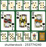 Playing cards, spades suite, joker and back. Faces double sized. Green background. - stock vector