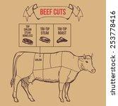 vintage butcher cuts of beef...   Shutterstock .eps vector #253778416
