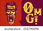 retro vintage surprised man... | Shutterstock .eps vector #253790098