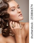 close up portrait of a woman's... | Shutterstock . vector #253806574