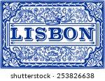 portugal tile lisbon pattern...   Shutterstock .eps vector #253826638