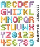 bright 3d block alphabet icons... | Shutterstock .eps vector #253830988