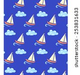 seamless sea pattern. yacht on... | Shutterstock . vector #253831633