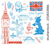 beautiful pattern about the uk. ... | Shutterstock .eps vector #253833886