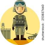 Soldier In Camouflage Uniform...