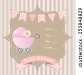baby girl  baby shower... | Shutterstock .eps vector #253848829
